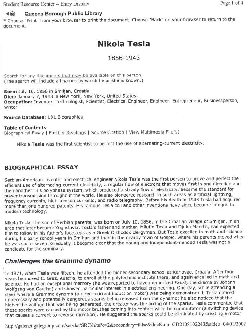 nikola tesla biographical essay