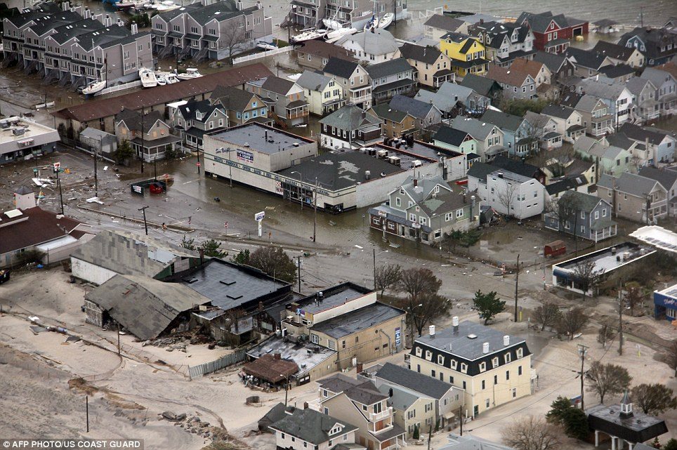 Severe damage: This picture provided by the US Coast Guard shows property damages along the New Jersey coast caused by Hurricane Sandy on Tuesday